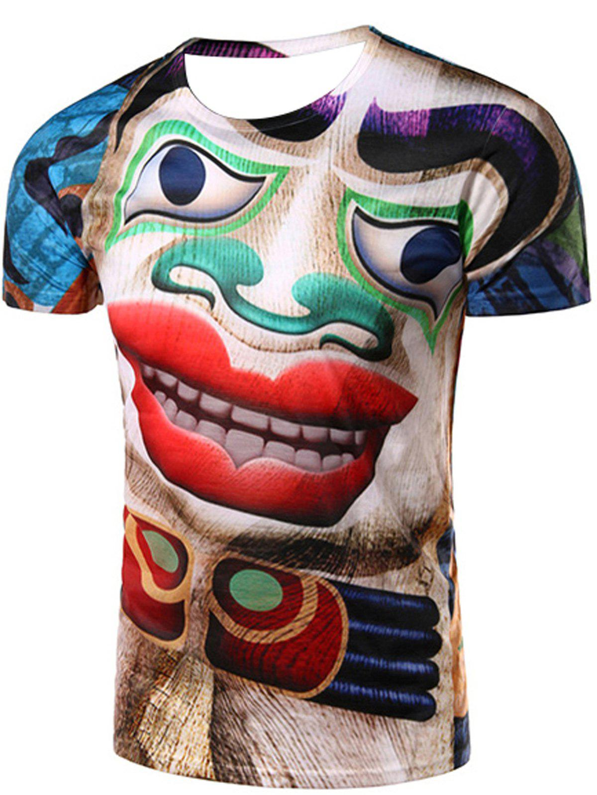 Round Neck 3D Clown Printed Short Sleeve Men's T-Shirt