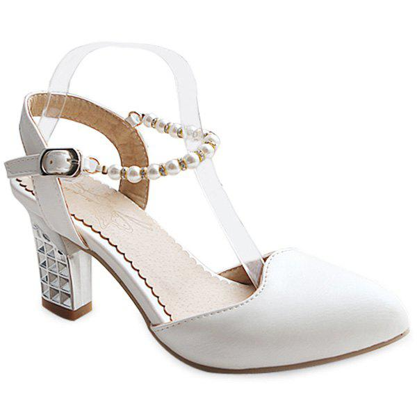 Casual Beading and Candy Color Design Women's Pumps - WHITE 41