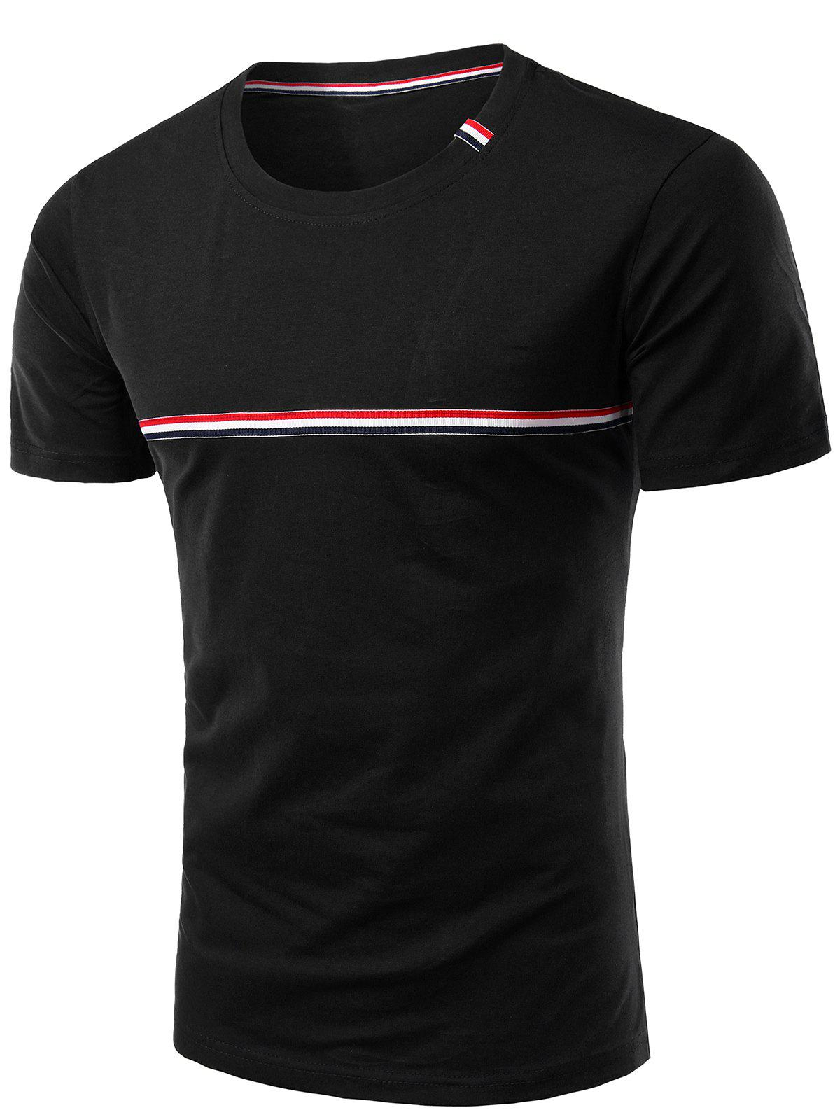 Trendy Round Neck Striped Printed Short Sleeve T-Shirt For Men assorted colors printed striped tassel courtly round neck short sleeve t shirts