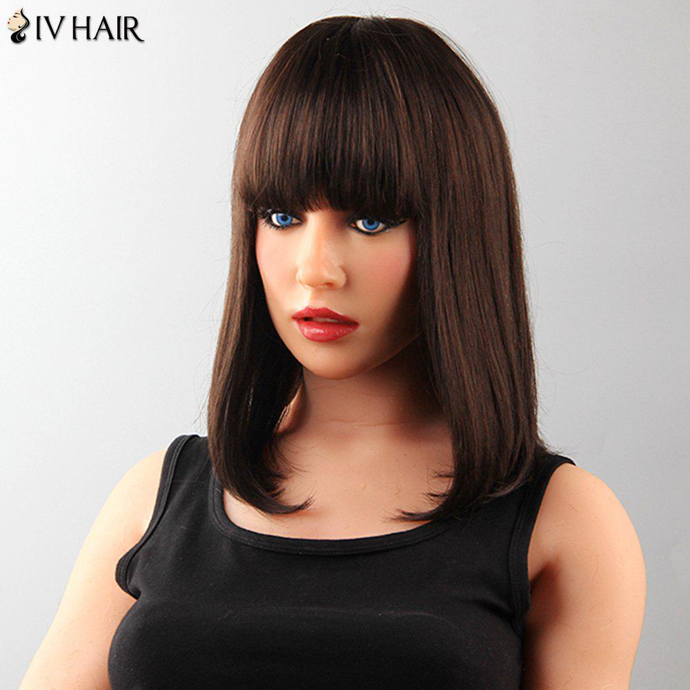 Attractive Capless Neat Bang Medium Straight Tail Adduction Human Hair Siv Wig For Women - MEDIUM BROWN