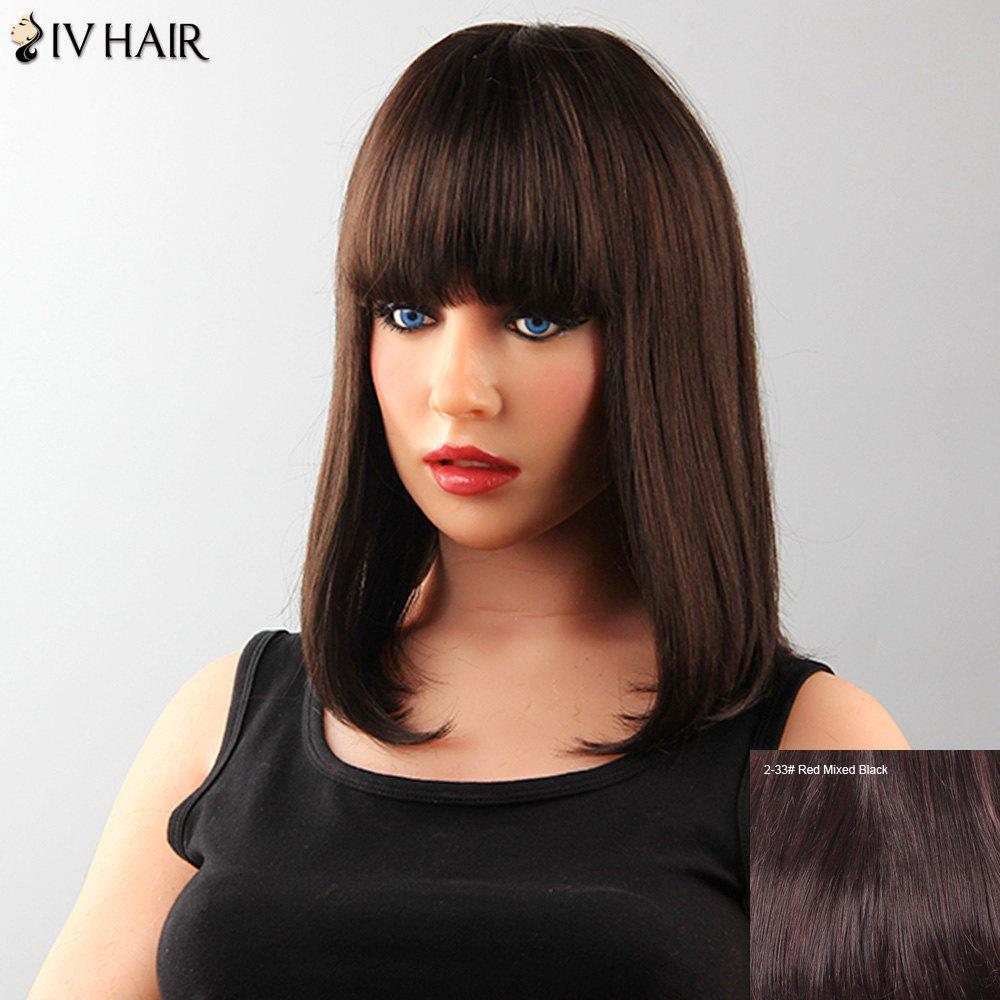 Attractive Capless Neat Bang Medium Straight Tail Adduction Human Hair Siv Wig For Women adiors straight medium neat bang tail adduction synthetic wig