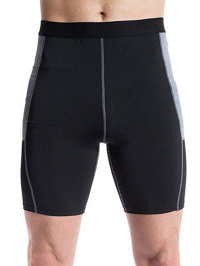 Training Fitted Elastic Waist Narrow Feet Quick-Dry Men's Shorts - BLACK L