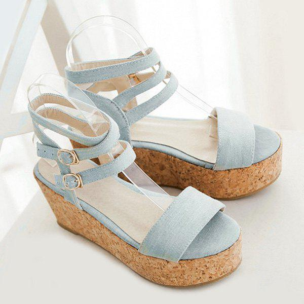 Trendy Double Buckle et Sandals Denim Conception Femmes  's - Bleu clair 37