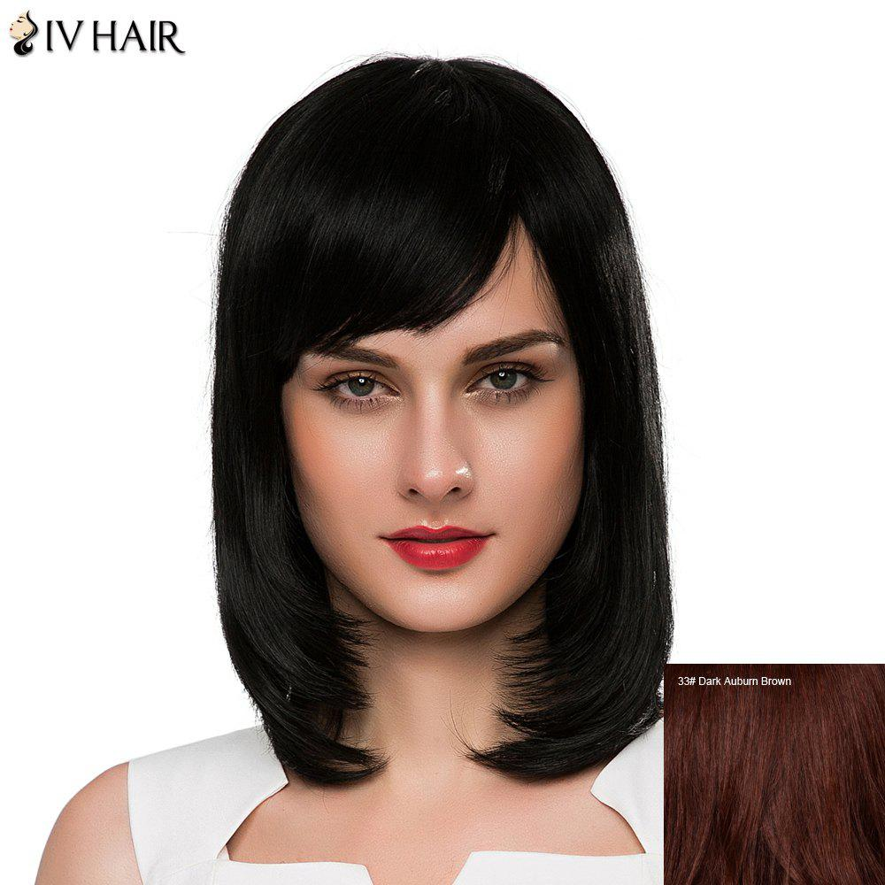 Charming Medium Straight Siv Hair Capless Women's Human Hair Wig - DARK AUBURN BROWN
