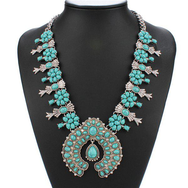 Retro Style Turquoise Bowknot Geometric Pendant Necklace For Women