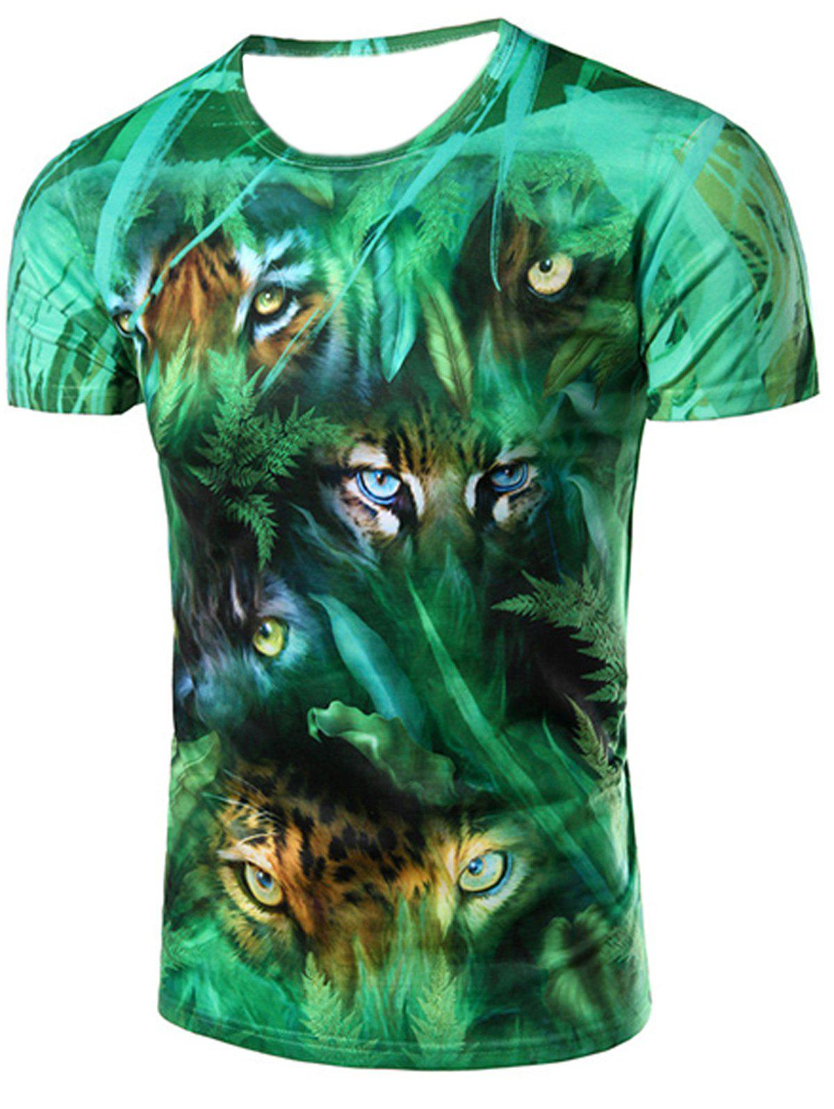 Round Neck 3D Jungle and Leopard Printed Short Sleeve Men's T-Shirt