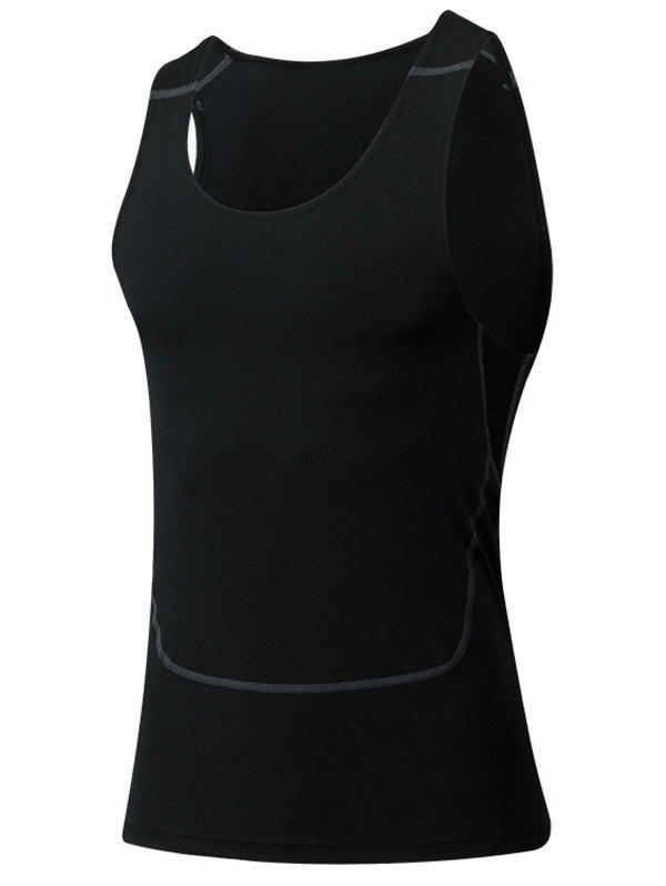 Tight Round Neck Qick-Dry Sports Tank Top For Men - BLACK M