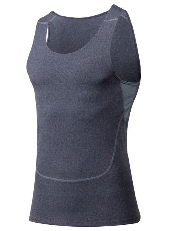 Tight Round Neck Qick-Dry Sports Tank Top For Men - GRAY M