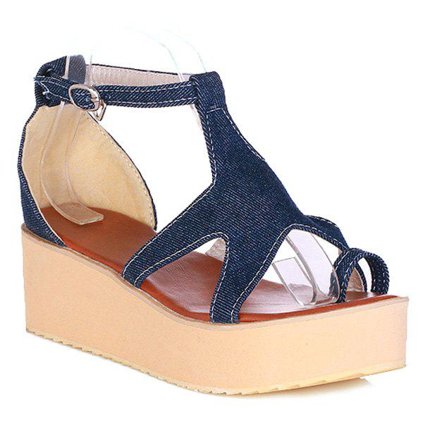 Fashionable Denim and Platform Design Women's Sandals - DEEP BLUE 38