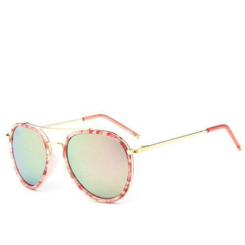Fashion Fresh Style Double Rim Flecky Pilot Sunglasses For Women - PINK