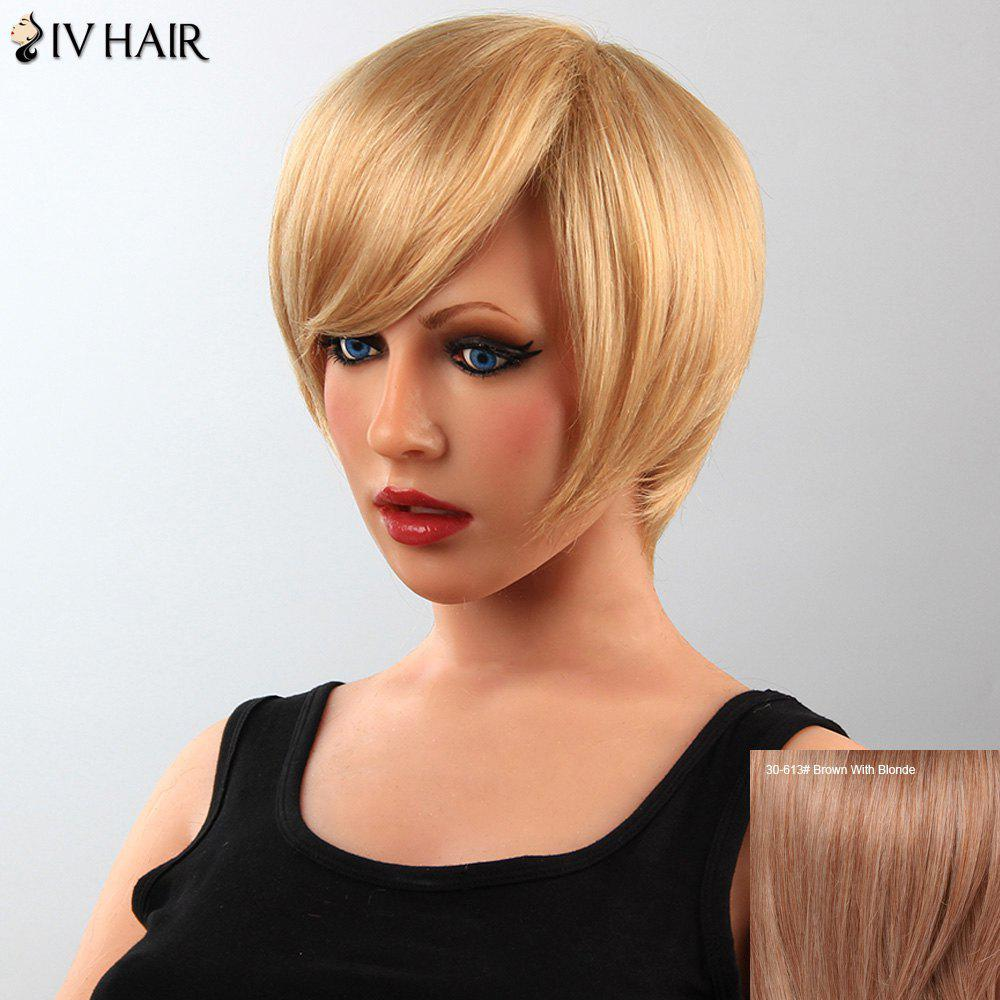 Stunning Short Straight Human Hair Side Bang Women's Capless Siv Wig - BROWN/BLONDE