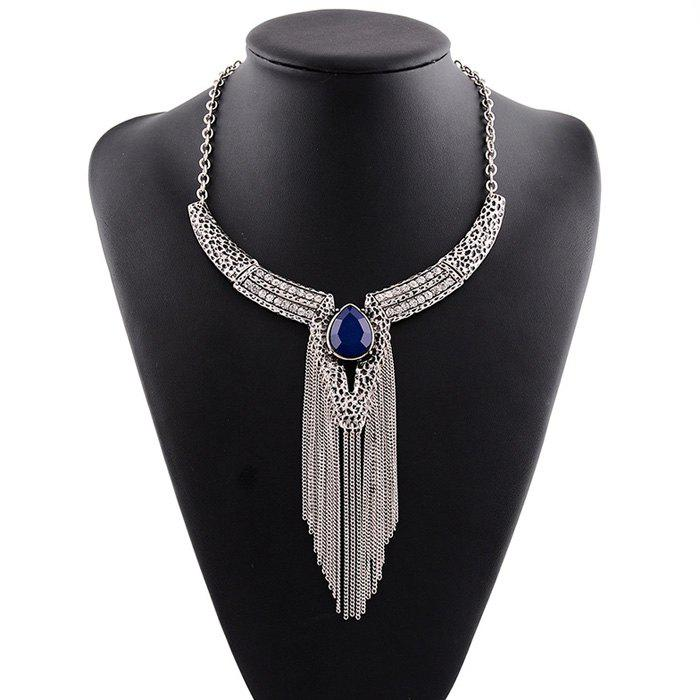 Rhinestone Faux Gem Water Drop Tassel Necklace - BLUE