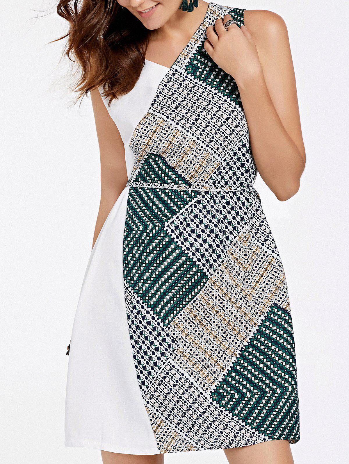 Stylish Women's Sleeveless Patchwork Design Self-Tie Dress - ONE SIZE(FIT SIZE XS TO M) GREEN