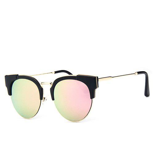Fashion Hipsters Flash Mirror Black Cat Eye Sunglasses For Women - PINK