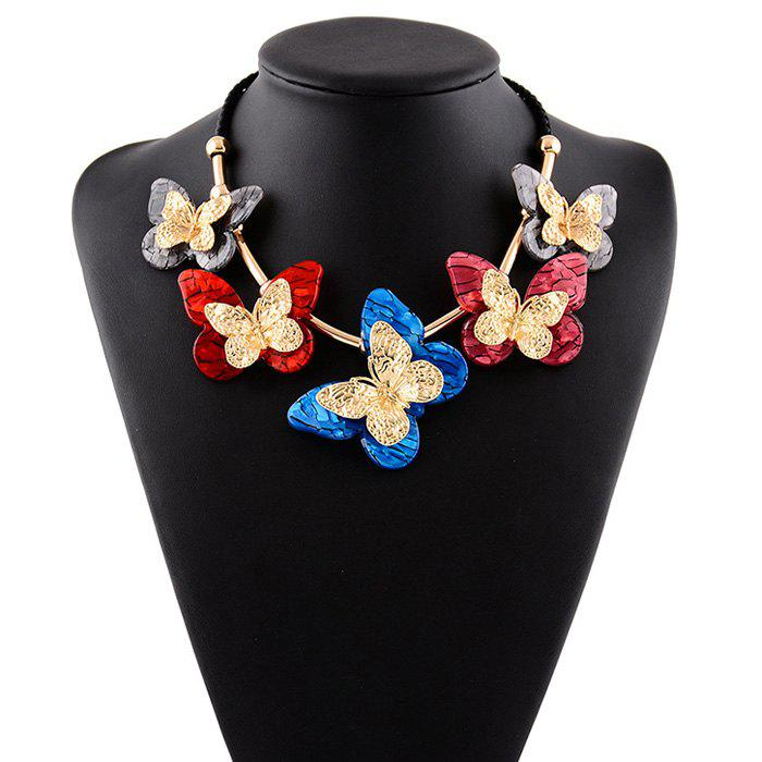 Resin Butterfly Rope Necklace - COLORMIX