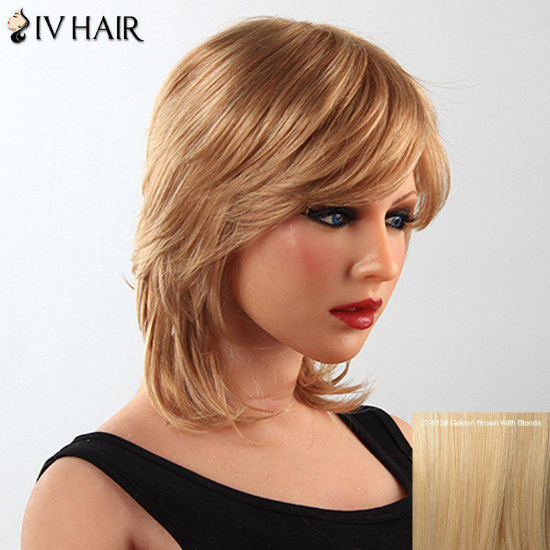 Stylish Human Hair Side Bang Medium Tail Upwards Womens Capless Siv WigHair<br><br><br>Color: GOLDEN BROWN WITH BLONDE