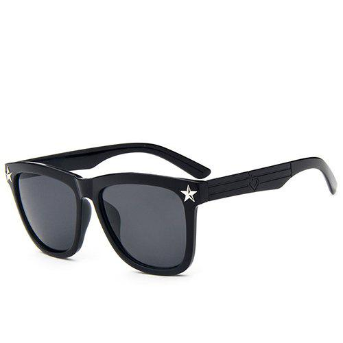 Fashion Hipsters Star Unisex Black Quadrate Sunglasses - BLACK