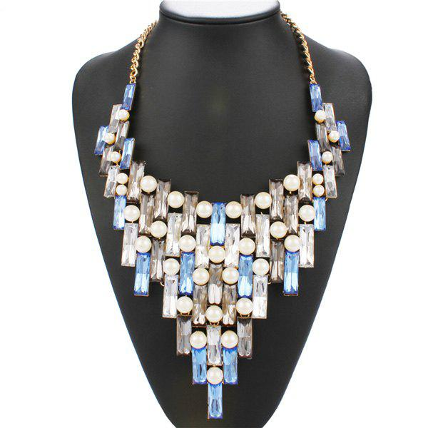 Stylish Faux Gem Artificial Pearl Geometric Statement Necklace For Women - ICE BLUE
