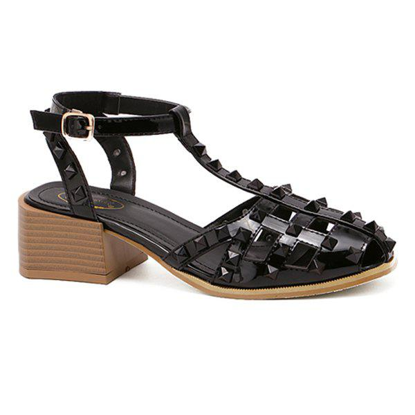 Stylish Hollow Out and Metal Rivets Design Women's Sandals - BLACK 38