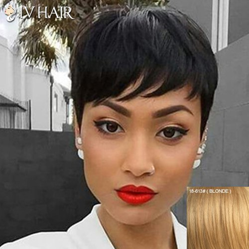 Manly  Full Bang Straight Siv Capless Human Hair Wig For Women - BLONDE
