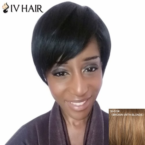 Nobby Side Bang Straight Siv Capless Human Hair Wig For Women - BROWN/BLONDE