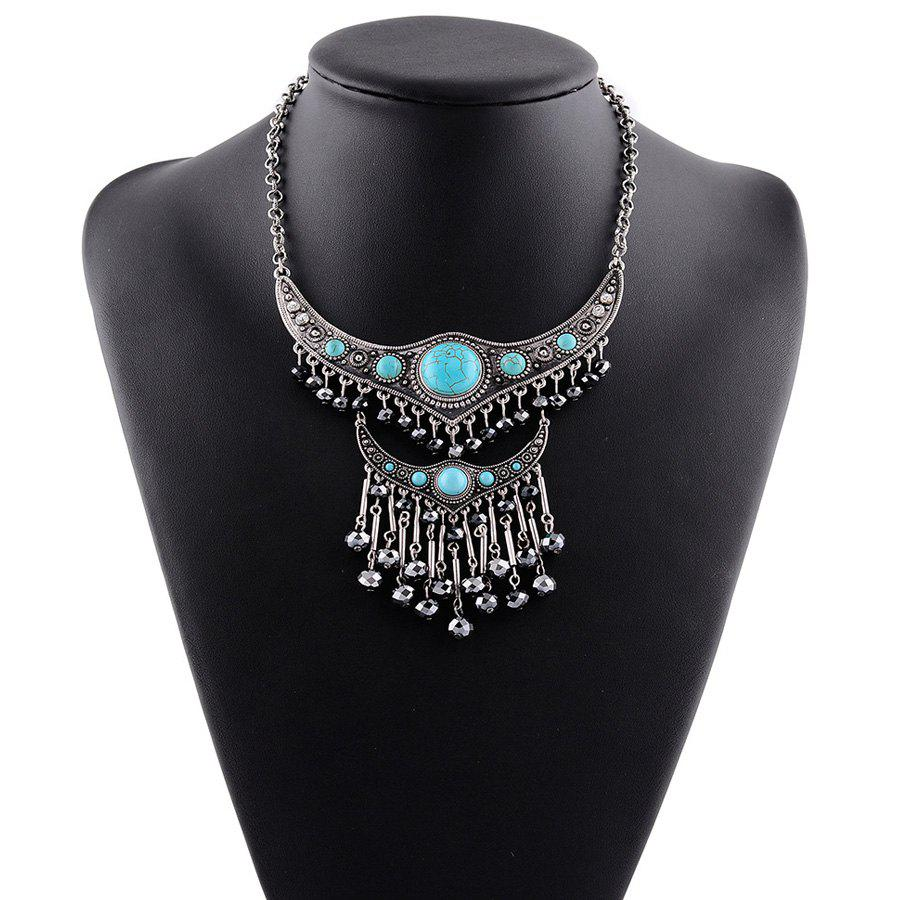 Faux Turquoise Embossed Tassel Pendant Necklace - SILVER