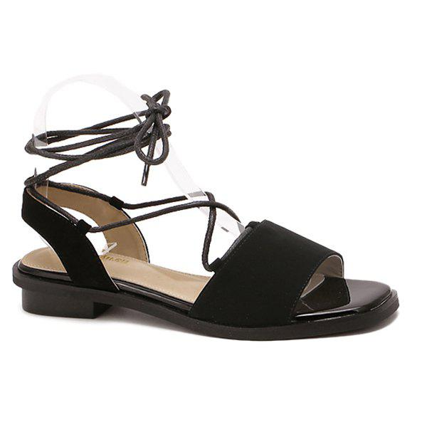 Concise Lacing and Suede Design Women's Sandals - BLACK 38
