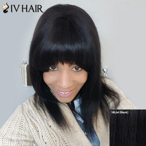 Stylish Full Bang Straight Capless Human Hair Siv Wig For Women - JET BLACK