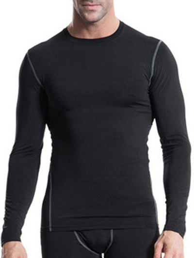 Fitted Training Quick-Dry Round Neck Long Sleeve Sport Men's T-Shirt - BLACK L
