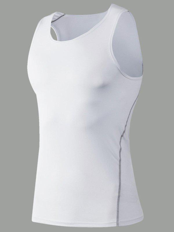 Sports Men's Solid Color Gym Tank Top - WHITE S