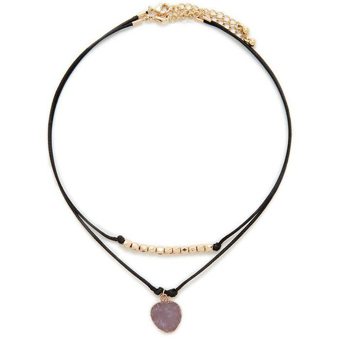 Multilayered Faux Leather Rope Necklace - BLACK
