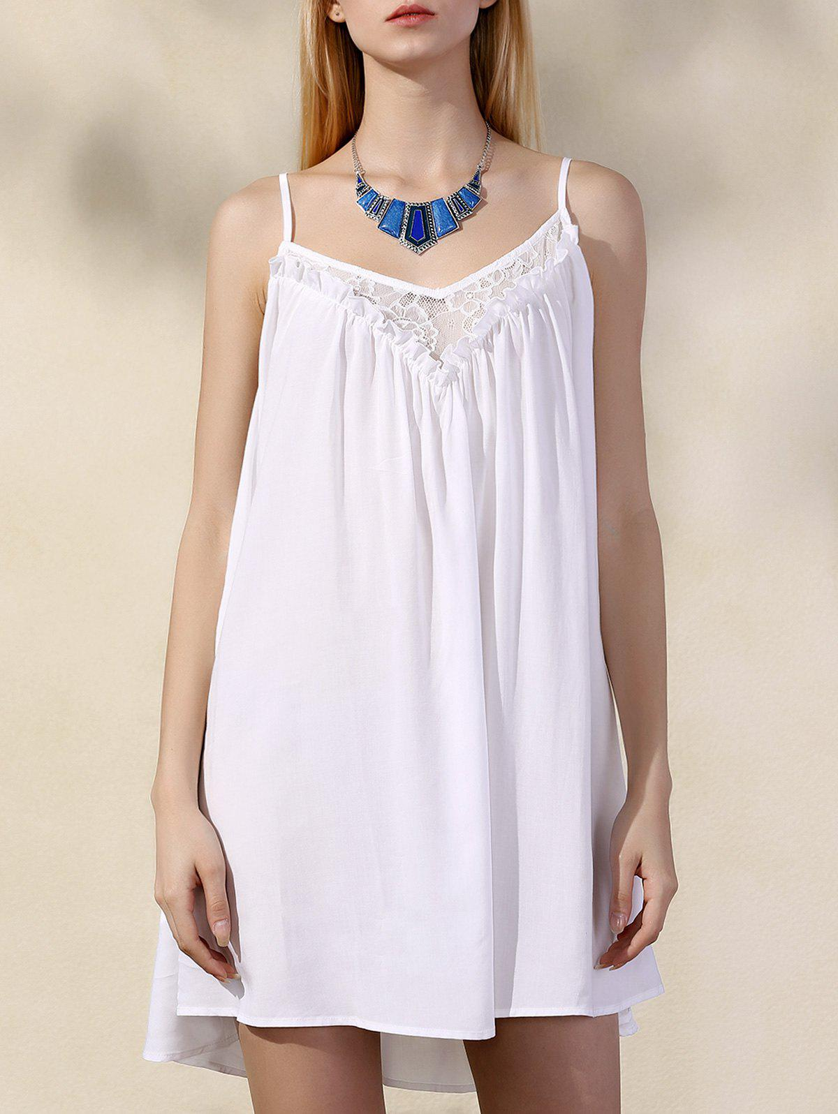 Stylish Chiffon Spaghetti Strap Lace Dress For Women - WHITE XL