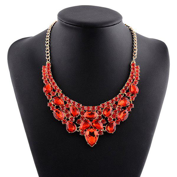 Faux Crystal Rhinestone Water Drop Necklace - RED
