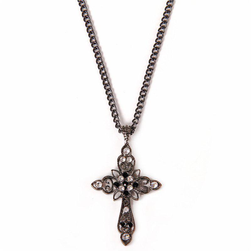 Gothic Style Rhinestone Crucifix Necklace For Women