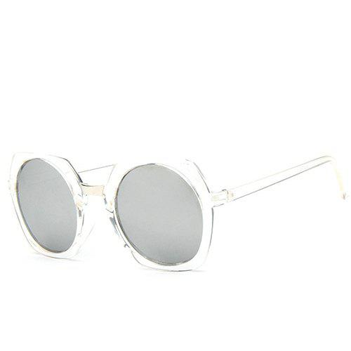 Chic Retro Round Flash Mirror Transparent Irregular Rim Women's Sunglasses - TRANSPARENT