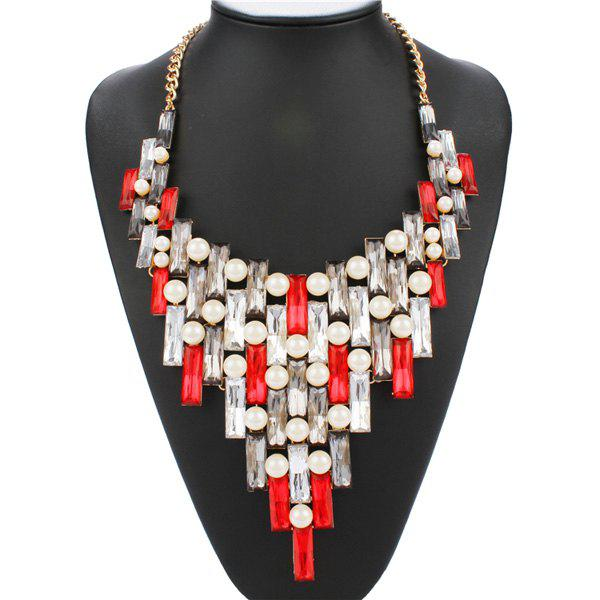 Graceful Faux Gem Artificial Pearl Openwork Statement Necklace For Women