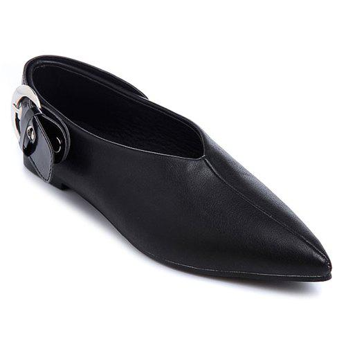 Stylish Buckle and Black Colour Design Women's Flat Shoes - BLACK 39