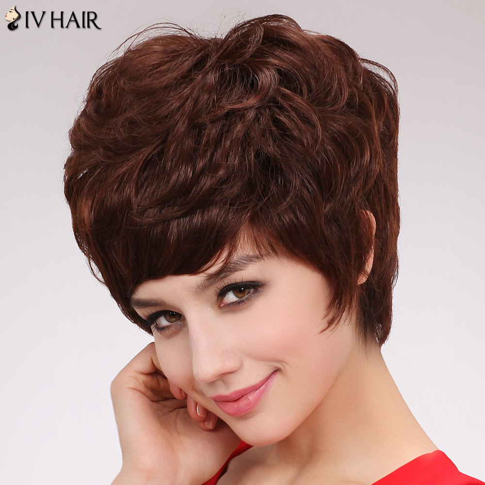 Charming Human Hair Capless Short Fluffy Curly Full Bang Siv Wig For Women - DARK AUBURN BROWN