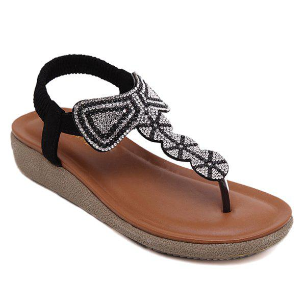 Leisure Beading and Elastic Design Women's Sandals - BLACK 39