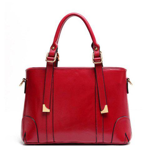 Graceful Metal and PU Leather Design Women's Tote Bag