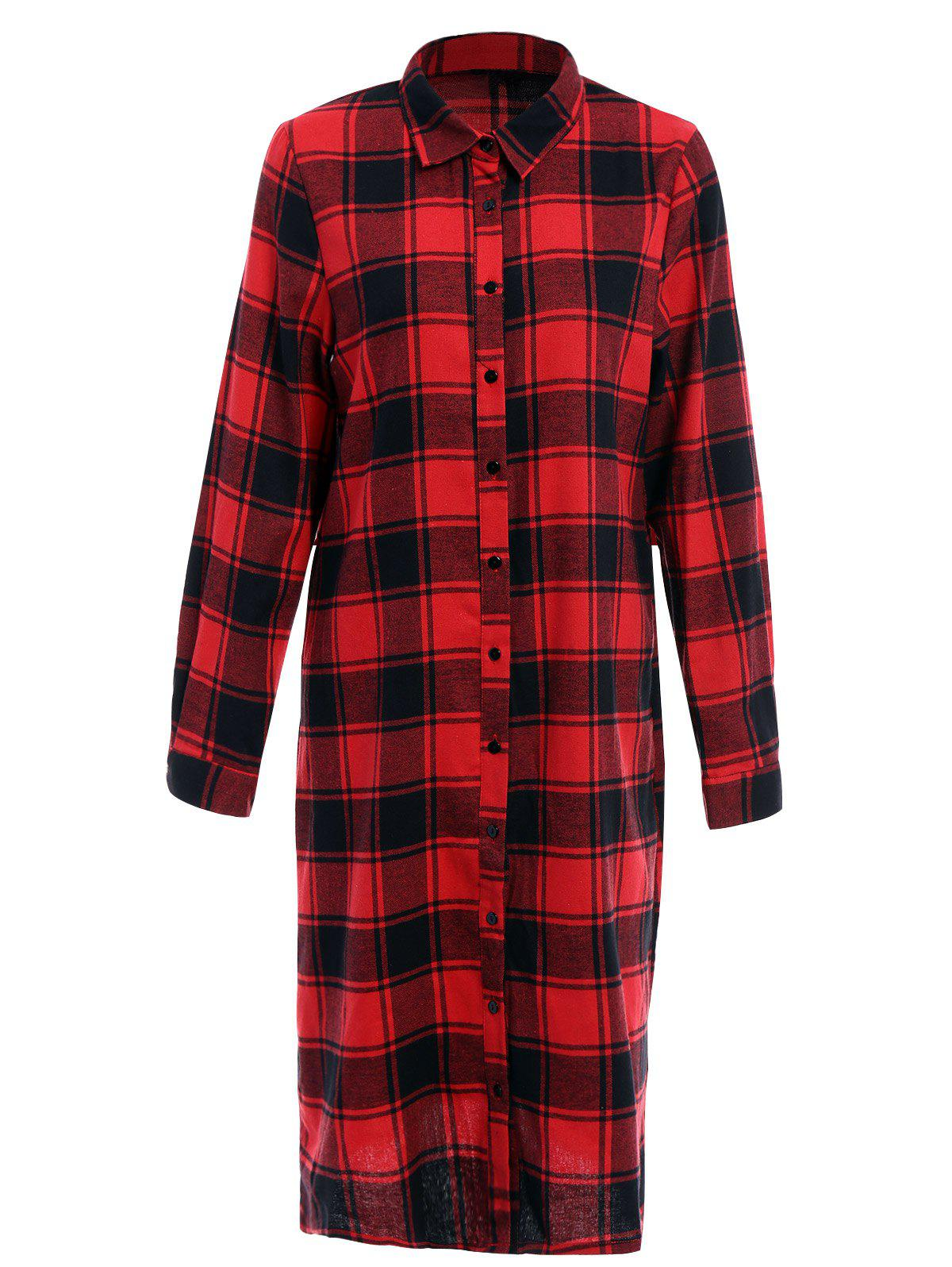 Trendy Shirt Collar Long Sleeve Plaid Single-Breasted Women's Shirt Dress