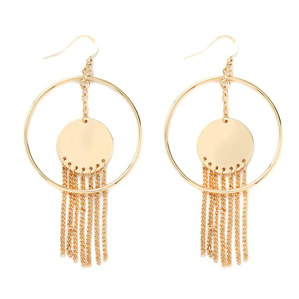 Pair of Alloy Circle Chains Earrings - GOLDEN