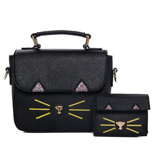 Cute Cat Pattern and PU Leather Design Women's Tote Bag - BLACK