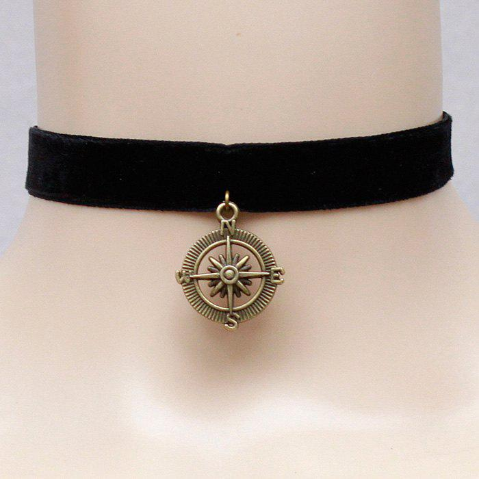 Vintage Style Solid Color Compass Pendant Choker Necklace For Women
