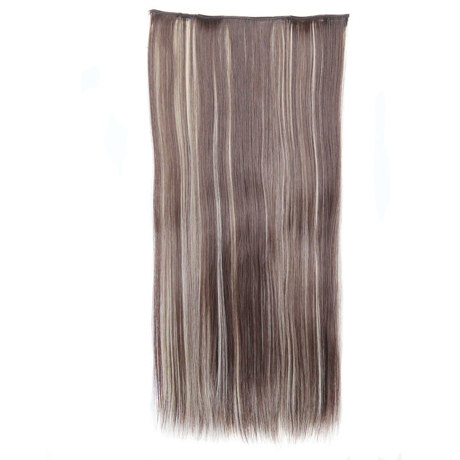 Trendy Heat Resistant Synthetic Clip-In Mixed Color Long Straight Women's Hair Extension - COLORMIX