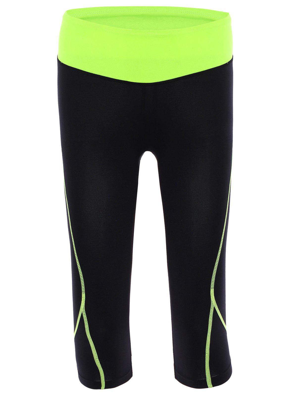Active Elastic Waist Color Block Bodycon Women's Cropped Yoga Pants - NEON GREEN L