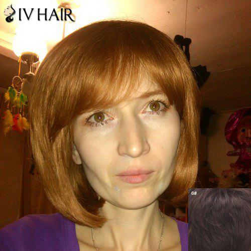 Sunny Bob Style Side Bang Straight Siv Capless Human Hair Wig For Women - MEDIUM BROWN