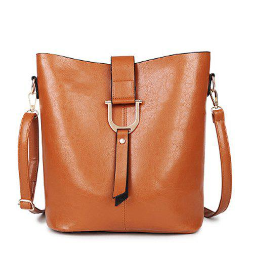 Leisure Metal and Solid Color Design Women's Crossbody Bag - LIGHT BROWN