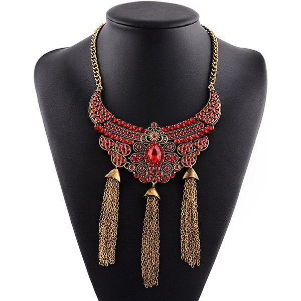 Faux Crystal Rhinestone Flower Tassel Necklace - RED