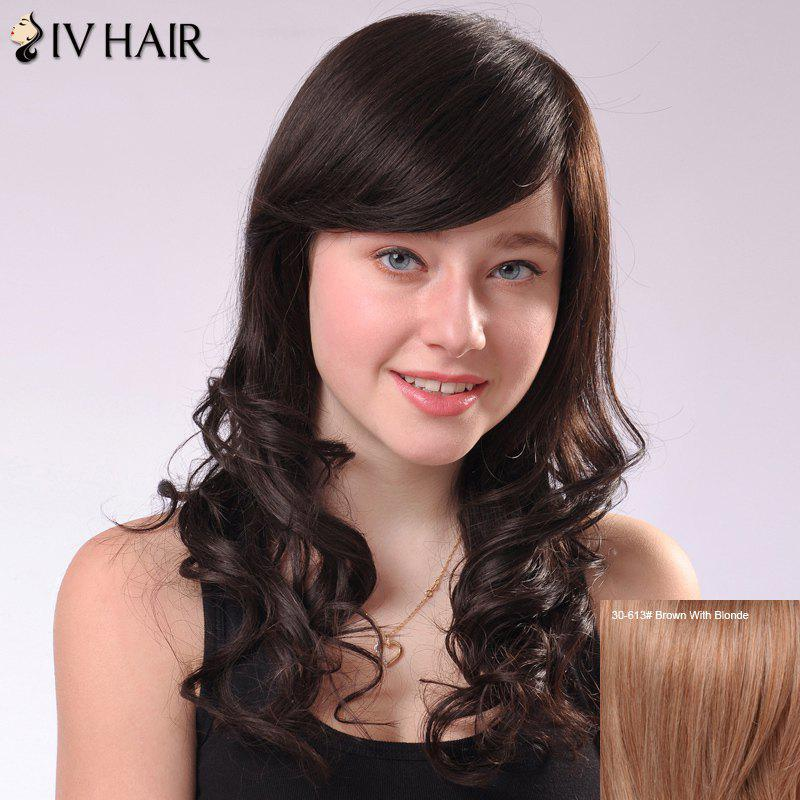 Sweet Side Bang Long Fluffy Wavy Human Hair Capless Siv Wig For Women - BROWN/BLONDE